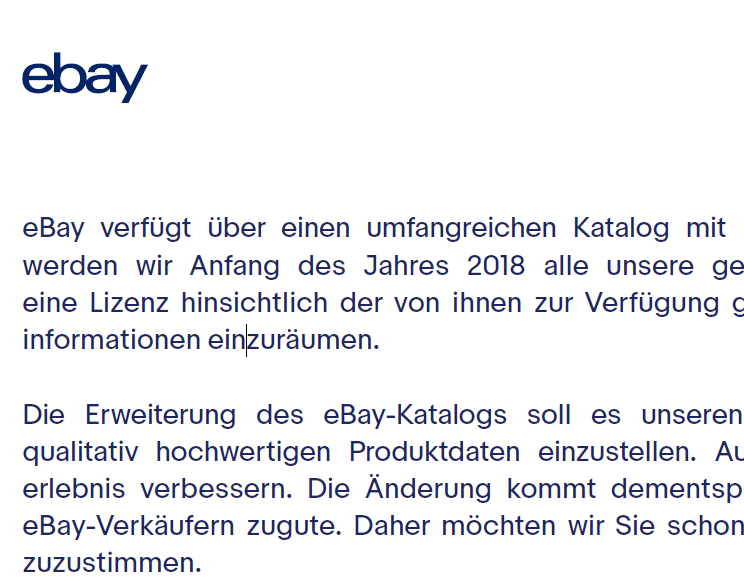 Ebay lässt sich ab Anfang 2018 eine Lizenz für Bilder von Händlern einräumen